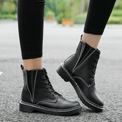 Lace Up Retro Low Heel warm Woman Boots Mid-Calf Boots Marti