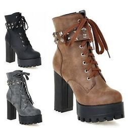 Ladies Shoes Lace Up Buckle Studded High Heels Womens Milita