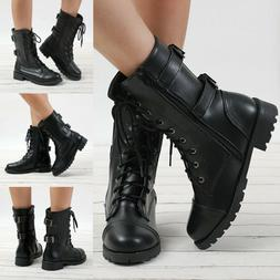 Womens Combat Military Ankle Boots Lace Up Zipper Buckle Boo