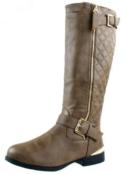 3565a7989f2 Top Moda LAND-99 Women s Quilted Knee High Low Heel Riding B
