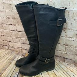 Life Stride Womens Black Double Buckle Riding Boots Size 8