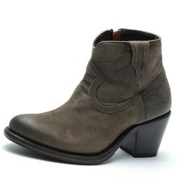 Frye Lillian Gray Leather Western Cowboy Ankle Bootie Boots