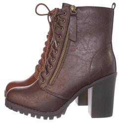 Malia Military Lace Up Combat Ankle Boot On Chunky Block Hee