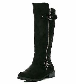 Forever Link Mango-23 Black Suede Knee High Side Zip Two Buc