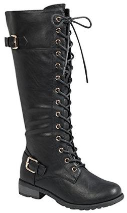 Forever Link Mango 27 Womens Knee High Buckle Riding Boots,B