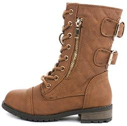 JJF Shoes Mango-79 Kids Tan Combat Lace Up Quilted Dual Buck