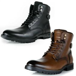 Men Ankle Boots Motorcycle Combat Style Boots Zipper Round T