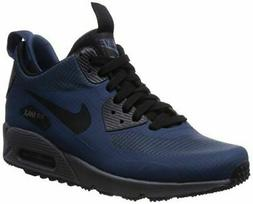 NIKE Men's AIR Max 90 MID Winter Navy Blue/Grey/Black 806808