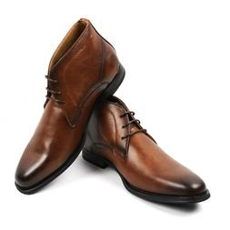 Men's Ankle Dress Boots Round Toe Lace Up Leather Luciano Sa