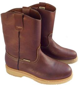 Men's Best Work Boots Pull On Leather Brown oil water slip r