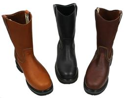 Men's Best Work Boots Pull On Leather oil water slip resista