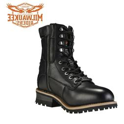 Men's Black Leather Motorcycle Boots Lace-Up with Zipper By