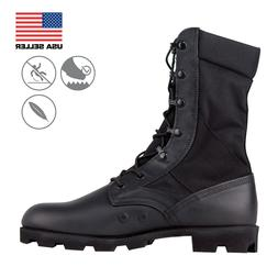 Military style boots for military construction work outdoors