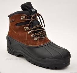 Kingshow Men's Brown Winter Snow Boots Shoes Genuine Leather