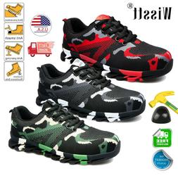 Men's Camouflage Work Safety Shoes Steel Toe Boots Indestruc