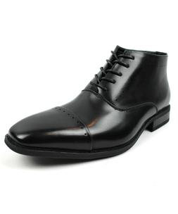 Men's Dress Ankle Boots Lace Up Black Detailed Cap Toe  PARR