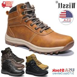 Men's Leather Work Boots Outdoor Waterproof Casual Water Boo