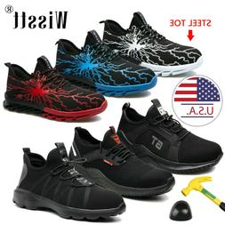 Men's Mesh Lightweight Safety Sneakers Work Shoes Steel Toe