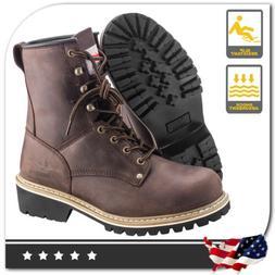 Men's Rugged Blue Logger Boot - Steel Toe - Work Boots