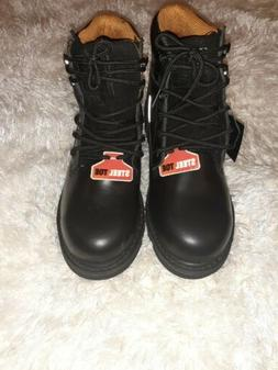 Men's steel toed boots, Size 9, Global Win, Black New No Box