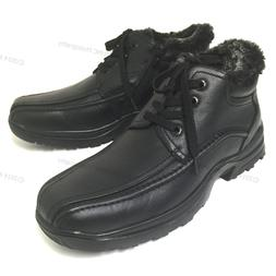 Men's Winter Ankle Boots Leather Warm Fur Lined Lace Up Side