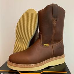 MEN'S WORK BOOTS GENUINE LEATHER BEOWN COLOR WESTERN COWBOY