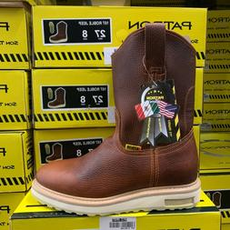 MEN'S WORK BOOTS SOFT TOE PULL ON ROUND TOE SAFETY BROWN GEN