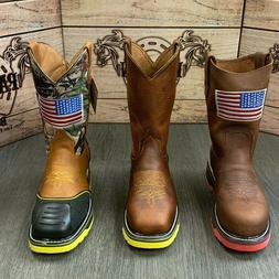 MEN'S STEEL TOE WORK BOOTS AMERICAN FLAG STYLE SOFT LEATHER