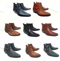 Brand New Men's Cowboy Boots Western Leather Lined Ankle Har