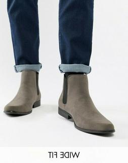 Men's ASOS DESIGN Wide Fit chelsea boots in gray faux sued