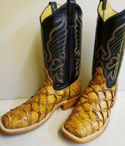 MENS NEW100% ORIGINAL ARAPAIMA PIRARUCU COWBOY BOOTS CHECK A