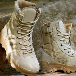 Mensl Army Combat Boots Canvas Leather Shoes Military Tactic