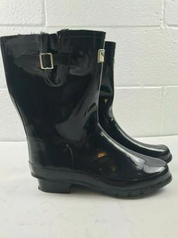 Forever Young Mid Calf Rubber Rain Boots Black Women's size: