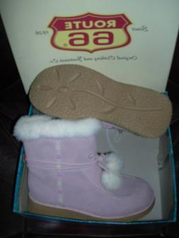 *NEW* 2007 ROUTE 66 *CUTE Big Girls Soft PINK Suede BOOTS si