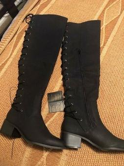 NEW Forever 21 Back Lace Up Thigh High Boots Black Size 8