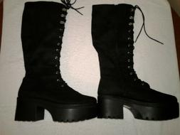 New Forever 21 Black Knee High Boots Women's Size 8 No Box
