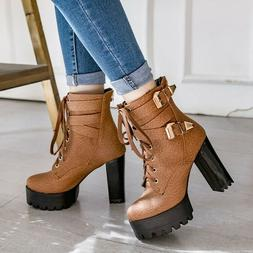 NEW FASHION Women Ankle Boots Combat Thick Heel Boots Shoes
