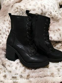 NEW Forever21 Boots Heeled Booties Lace Up Black Size 9 EDM