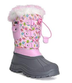 NEW DREAM PAIRS KSnow pink owl insulated waterproof snow boo