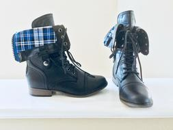 NEW~ForeverLace-Up Fold-Over Combat Boots ~ Blue & Black P