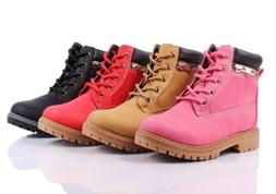 New Lace Up Preschool Girls Military Boots Kids Ankle Bootie