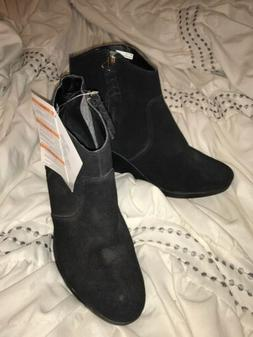 NEW CROCS LEIGH SUEDE BLACK WEDGE ANKLE BOOTS BOOTIES size 1