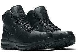 New NIKE Manoa Mens Leather Ankle boots triple black all siz
