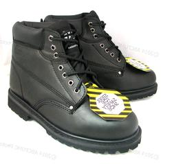 "New Men's Steel Toe Work Boots 6"" Black Leather Oil Resistan"