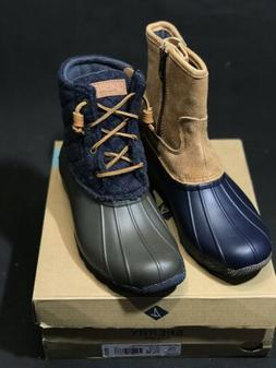 New Sperry Top-Sider Women Saltwater Wool/Leather Duck Navy/