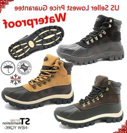New Winter Snow Boots Men's Work Boots Shoes Leather Lace Up