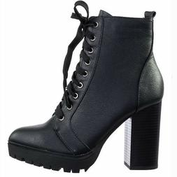 New Women Black Brown Lace Up Combat Lug Sole Chunky Heel An