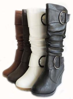 NEW WOMEN FASHION WEDGE MID CALF BOOTS KNEE HIGH ROUND TOE S