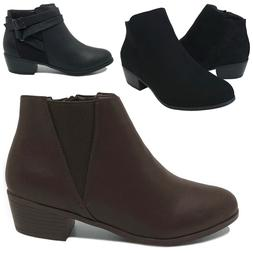 New Women's Ankle Boots Low Heel Short Booties Black Brown S