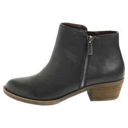 New Kensie Women's Black Leather Ghita Short Ankle Boots PIC
